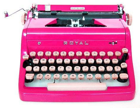 macchina scrivere pink